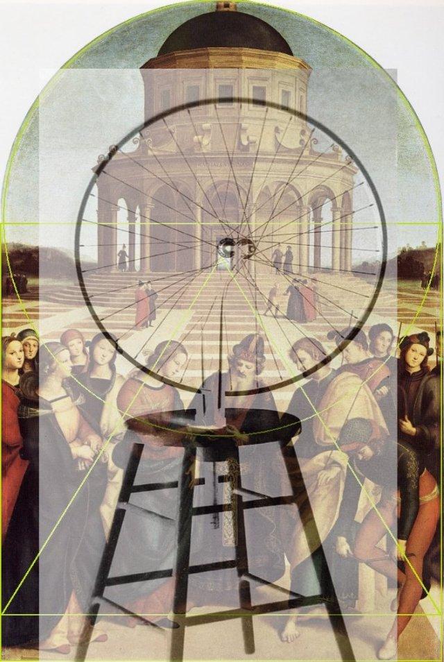 Raphaël et Peruginont tous deux explicitement associé, mariage de la vierge,divinité, architecture, point de fuite etconstruction géométrique plane ; le pseudo ready madede la roue de bicyclette ( les eégètes semblent toujours oublierle tabouret et l'inversion de sens) est clairementun rapportentre cercle et carré, points de contacts, haut/bas etc...Exactement comme dans leGrand Verre ; Duchamp est un des raresartistes du XXe s. à utiliser la perspective avec une dimension signifiante ; il serait faux de l'ignorer. Cette superposition corrobore me semble t-il ce propos.