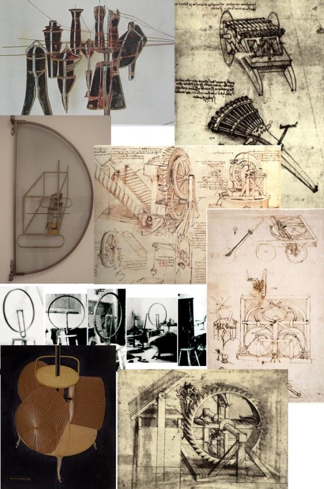 Montage rapprochant les expériences et études de MD etVinci ; formes et mouvements de même nature ; mécanique du vivant.