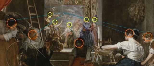Prodigieuse composition ; dans cette composition, Vélasquez fait correspondre strictement chaque figure des fileuses à chaque figure de l'univers divin/royal/artistique. L'idée de projection et de correspondance entre deux univers est une nouvelle fois structurée.