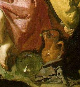 Vélasquez, détail central de bacchus chez les vignerons ; là encore, la double réalité des contenants, l'un terrestre et opaque, associé aux travail terrestre, l'autre cristallin et transparent, associé au Dieu..