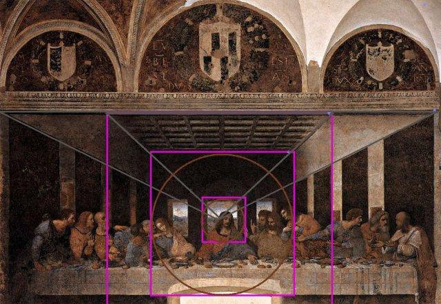 La fameuse Cène de Milan, où Vinci assigne clairement lavaleur symbolique évanescente et centrale du point de fuite à la figure de double nature de jésus. Céleste et terrestre, humain et divin, mortel et éternel etc..