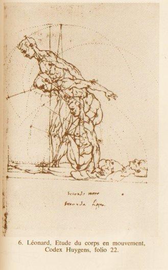 Extrait du Codex Huygens, folio 22, étude de corps en mouvement....Les préoccupations et même le graphisme de superpositions et pointillés, si proches...Vinci/Duchamp