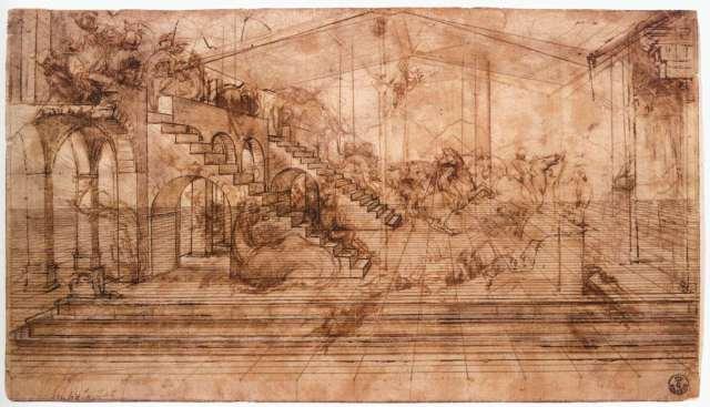 Adoration des mages, dessin préparatoire de Vinci pour une peinture jamais réalisée..et pour cause, il ne pouvait et ne voulait pas peindre un espace mesuré et ordonné. On repère par contre une précision hallucinée de la structure sous -jacente en perspective.