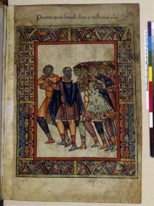 """11ème siècle, histoire de St Aubin, Angers. le cadre est ici marqué et isole clairement l'image afin de l'instituer comme sacrée et pleine de sens divin. Il s'agit d'une """"vie de saints""""."""