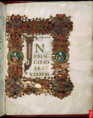 11ème siècle ; le cadre entoure la lettre comme véritable initiale, la lettre qui engendre le sens sacré ; dorures, entrelacs, rinceaux....le 11ème siècle est un siècle d'homogénéisation des pratiques et de grande circulation des textes et styles.