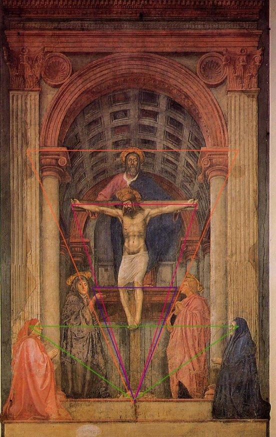 Le choc produit par la composition de Masaccio est énorme ; la cohérence absolue du dispositif, combinant la place du spectateur, la place des donateurs, la hiérarchie des figures, graduation vers le divin est une combianison claire de la géométrie plane et de la perspective. L'inscription patente dans l'architecture, fait de cette oeuvre majeure, un véritable manifeste de cet art nouveau naissant à Florence.