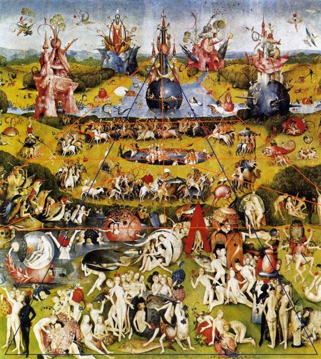 Bosch, contemporain exact de Leonard de Vinci, compose de façon discrère avec la géométrie ; en élevant de façon délibérée l'horizon, il relativise l'ordonnace de la terre et du sol. Cette distance, cette élévatuion, le met dans toutes ses oeuvres, au niveau du créateur, contemplant le panorama circulaire de la terre, peuplée de figures errantes. Il introduit l'ellipse. Figure que Breughel reprend systématiquement et de façon empirique.