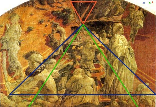 Paolo Uccello, sur cette fresque du Chiostro Verde de Florence, utilise délibérément le point de fuite comme un verrou et non une asymptote vers les cieux. Un déluge qui ne finit jamais.