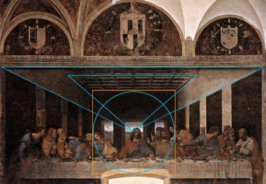 Vinci, la Cène. Une radicalité correspondant bien à la clarté de Léonard de Vinci quand au rapport aux mathématiques. L'équation Jésus/point de Fuite est affirmée. La quadrature aussi bien entendu. Que l'on retrouve avec l'homme de Vitruve.