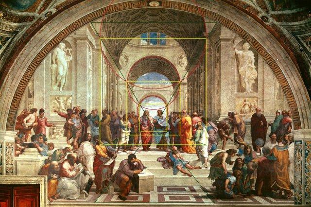 Apothéose des principes élaborés. Raphaël conclut, pourrait-on dire les recherches élaborées par ses prédécesseurs. En dissociant la vérité rationelle ; ici la philosophie, de la vérité révélée. La première est accessible par les intercesseurs que sont Platon et Aristiote et se situe dans une architecture, la deuxième est sans lien physique ; il s'agit bien d'une méta-physique, car le point de fuite est dans le vide.