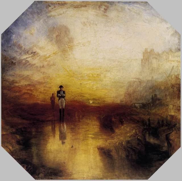 """Turner, 1845, la figure de Napoléon, comme archétype du destin romantique...Ici, la peinture se lâche,se libère, devient accident, tache, trace, geste....Napoléon ou les trains à vapeur..Pour Turner, tout ce qui brasse,bouillonne et transforme est signe de vie, jusqu'à l'épuisement, jusqu'à la fusion dans le grand"""" tout"""".."""