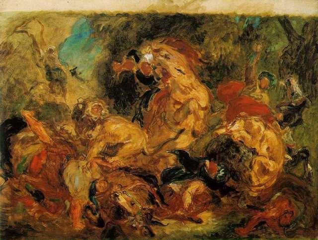"""Delacroix, étude de chasse au lion...Synthèse de divers """"ailleurs"""" fusionnés par l'action, le mouvement : exotisme, animalité, mort, conflit...geste tourbillonnant et libre, peinture d'action.."""