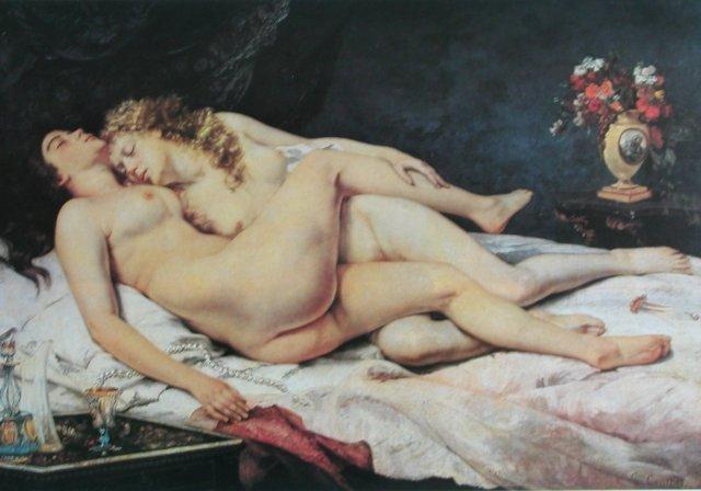 """Courbet, femmes endormies;on comprend pourquoi Courbet est indigeste pour les artistes académiques et les religieux ; des femmes aux corps vrais et pesants, à la diffréence des mannequins de """"beurre blenc"""" comme s'en moquait Baudelaire, se laissant aller à un sommeil sensuel , loin de toute idée de procréation ."""