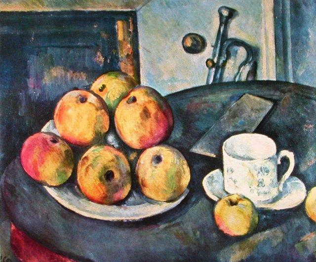 Cézanne voulait étonner Paris avec une pomme...Il y réussit. Intensité d'un regard scrutateur,ne hiérarchisant plus le visible...arrêtant son regard par libre choix...révélant l'infini dans un espace clos,et toutes les couleurs en tous les points de l'espace. La peinture formelle,anti sujet,anti posture,anti illusion...Fin du romantisme, du classicisme,du symbolisme.