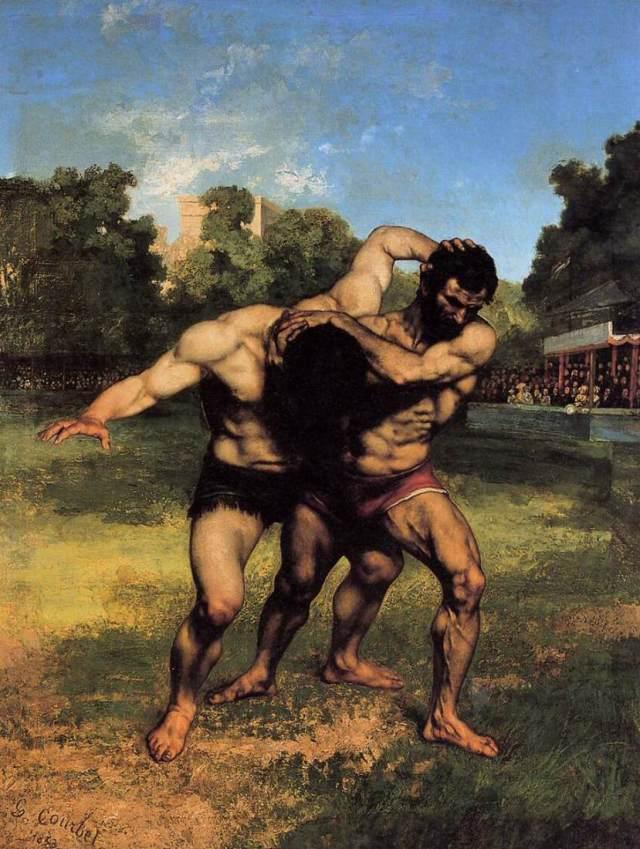 Courbet, les lutteurs. La manière de Courbet, d'imposer,sansdistance, ni visuelle, ni culturelle, ni narrative,des corps de lutteurs populaires, sombres, musculeux d'une force fruit du travail,est emblématique de la grande rupture qu'il opère dans le concert romantique d'un côté et académique de l'autre. Il trouve une voie propre, celle du constat, de la phénoménologie.