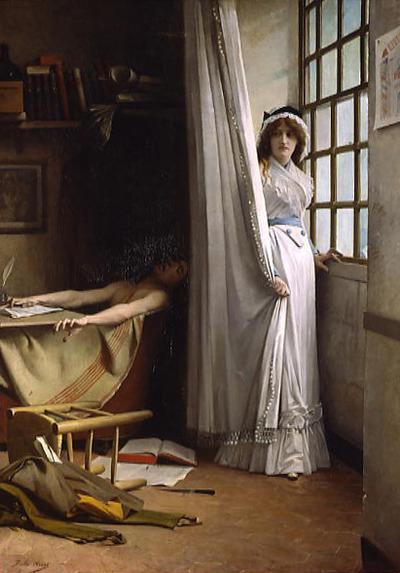 La figure de Charlotte Corday est récurrente dans la peinture académique ; l'ennemi commun trouvé, est bien sûr Jean Paul Marat, ferment révolutionnaire  radical. Ici, après Baudry, aviat nous présente la nouvelle Jeanne d'Arc, mais ici l'ennemi n'est pas l'étranger, il est intérieur.