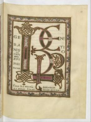 Bible du 9e siècle, ici lettre, texte, enluminure sont liés.