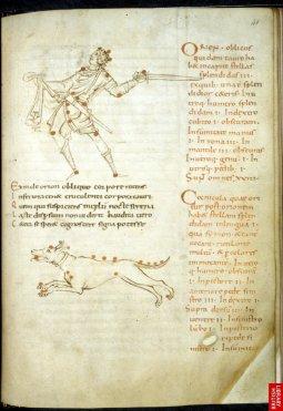 Astronomie d'après Cicéron, Orion et la constellation du chien. Les almanachs et traités d'astronomie sont aussi parmi les plus répandus des manuscrits de besace...Ici, 10ème siècle.