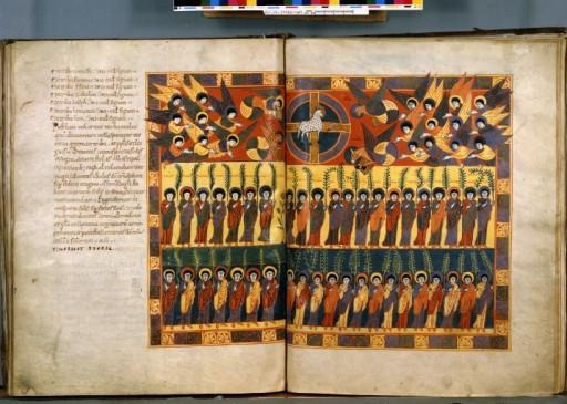 Le fameux Beatus de Saint Sever - le seul exécuté hors de la péninsule ibérique, est aussi exemplaire de l'ampleur de l'oeuvre. Double page pleine.