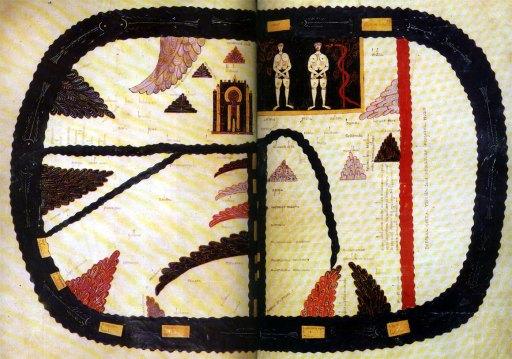 Le beatus de Madrid ; ici la double page sur le thème de la mappemonde, avec Adam et Eve ; une des images récurrente de tous les beatus : le thème de la mappemeonde se prète parfaitement à la consultation sur place,sur lutrin.