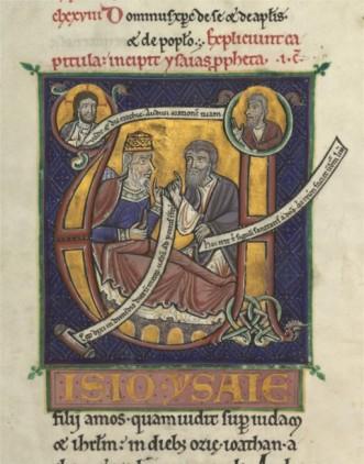 Lettrine de la bible des capucins ; là encore figuration de l'écriture dans l'illustration. Le 12ème voit une véritable flambée de manuscrits illustrés et enluminés ; c'est une des grandes période d'unification.