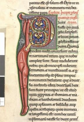 """Une des nombreuses lettre """"P"""" transformée en combinant la contrainte formelle et l'imaginaire ouvert. Cette logique médiévaleest significative de cet art combinant sans cesse l'ordre et le désordre, la structure et le mouvement."""