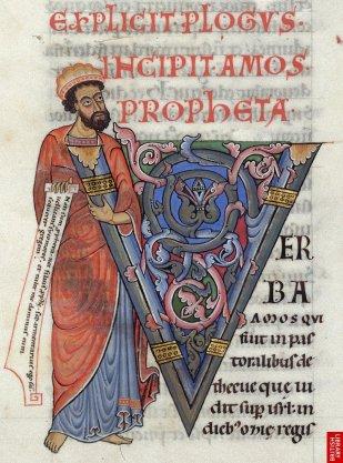 Dans la Bible de Worms' 12ème,  toutes les lettrines sont associées à un saint tenant un écrit  à la main...
