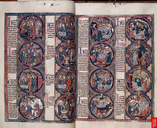 """13ème, Cette grande Bible illustrée , manuscrit dit de """"lutrin"""", synthétise clairement tous les aspects de l'enluminure, entrelacs, figures et calligraphie. Un registre iconographique chrétien commence à s'inventer dans cesbibles illustrées."""