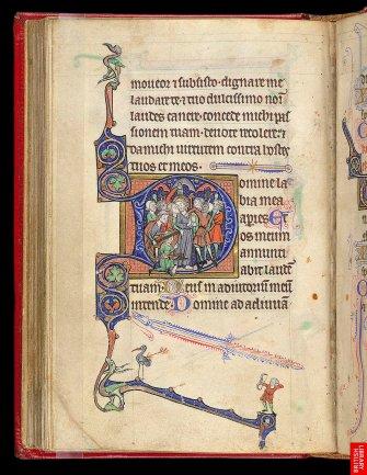 Livre d'heures du 13ème,avec la trahison de Judas inscrite dans la lettre. On remarque d'extraordinaires et libres digressions graphiques.