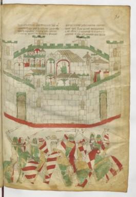 """Chronique d'histoire ancienne :ici unescène de l' Illiade....lesanachronismes de costumes et etenues sont normaux, car c'est le début de """"l'histoire""""; la vie de César et le """"Roman d'Alexandre"""", sont diffusés avec le même regard que les légendes arthuriennes."""