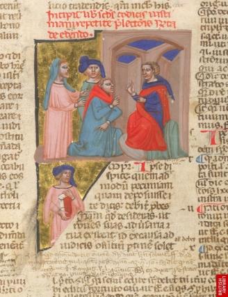 Bible de Justinien, 13ème, italie. On note clairement la tendanc eaux couleurs plutôt qu'au trait. Marque italienne.