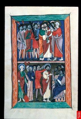 Beau psautier du 13ème, sur lequel on voit se constituer l'iconographie classique des scènes du nouveau testament; ici, la trahison de Judas.
