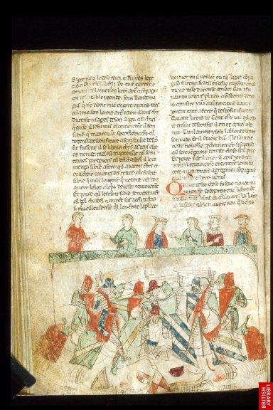 le roman de Tristan en prose est l'un des exemples de christianisation de contes et mythes progressivement intégrés à un patrimoine cohérent. Ici, un exemplaire du 13e.