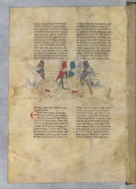 Histoire du Saint Graal , Lancelot secourant Guenièvre ; manuscrit italien du 13ème. Plus graphique ; de l'aisance dans les anatomies et mouvements.