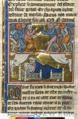 """Les romans Arthuriens se répandent au13ème siècle, ici le diable trompant la femme d'Uter .Les romans sont par essence des manuscrits de """"main""""."""