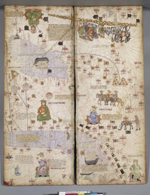 le merveilleux Atlas Catalan, du 14e.S.représentation ouvertedes directions possibles sur terre et mer ; synthèse de voyages et légendes.