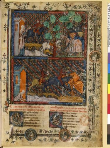 au 14e siècle encore, Le succès des romans arthuriens de Chrétien de Troye est énorme ; ici un Perceval de tradition française.