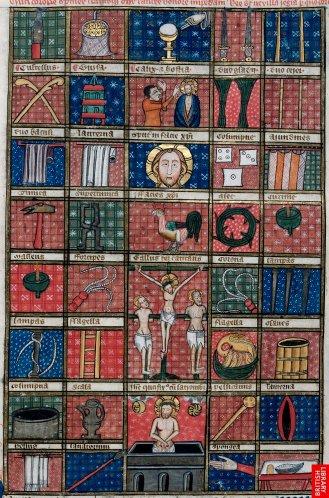 Bible du début du 14ème, de James le Palmer; instruments de la passion. La structure en vignette est bienpropre aux manuscrits; comme un effet catalogue. Les fonds géométriques et à motifs, sont une rémanence des arts des vitraux gothiques et démontrent une réticence à disposer les figures dans la profondeur.