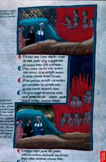 Page complète du manuscrit, Dante et Virgile enenfer. L'intensité des couleurs densifie le texte.