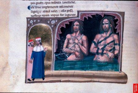 La divine comédie de Dante estévidemment un des textes les plus remarquables et se prèrte, par son côté visionnaire à d'exceptionnelles images.Cette série du14eest puissante par les modelés synthétiques etla représentation confinée des espaces. Le bleu profond renforce lamystique des visions. les personnages sont peu déliés, un peu raides, sidérés.