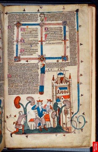 Page complète de cet étonnant manuscrit ou les figures sont des digressions totales, quand on sait que Penaforte fut le théoricien de l'inquisition...