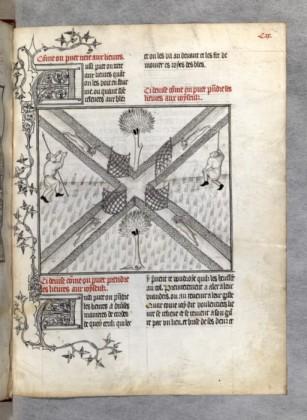 Les extraordinaires traités de chasse de Gaston Phebus sont l'un des sommets de l'art des manuscrits ; ici, une chasse au lièvre monochrome, combinant précision anatomique et cynégétique et paradoxes spatiaux. La scène est tout de même d'une grande clarté.