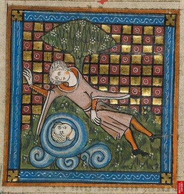 Narcisse, évidence poétique de l'illustration. Densité des fonds géométriques dorés combinés à une certaine simplicité des figures.