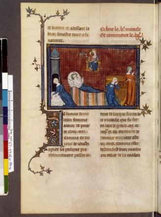 14e. Un genre qui se répand après la légende dorée de jacques deVoragine est le livre relatif à la vie des saints ;ici, Louis 9, sanctifié et popularisé par de nombreux miracles comme celui de Jeanne de Melun! image très illustrative, dans un style commun sur lequel nous reviendrons plus loin.