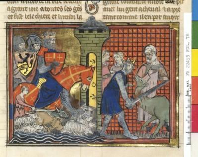 14e ; dans un style proche, la glorification des croisés. ici Godefroy de Bouillon arrivant à Antioche. Se constitueprogressivementune légende européenne et chrétienne de plus en plus cohérente.