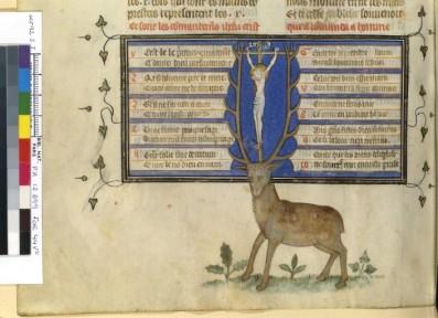 Traité de chasse d'Henri de Ferrières, ici, les commendements de dieu...avec le cerf de St Eustache. Représentation assez proche du Gaston Phébus.