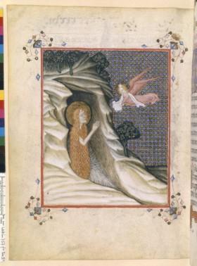 Livre de prière pour les frères mineurs ; illustration italienne de Marie Magdeleine, revêtue de sa seule chevelure.
