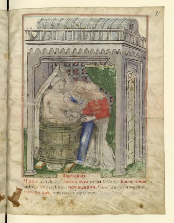 le merveilleux Tacuinum sanitatis de Ibn Al Butlan..Traité de vie, d'horticulture et de médication...Ici, le bain!!