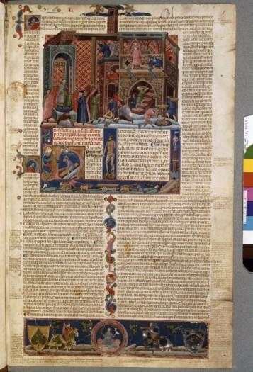 14e. Manuscrit italien de Boolgne, sur la législation, ici celle des chantiers. Toujours le style italien très abouti et maîtrisé dans le domaine de la perspective empirique.Les échanges avec les grands peintres sont nombreux ( Duccio-Giotto-Lorenzetti etc.)