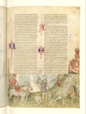 """Manuscrit milanais du 14e. version dite """"Guiron le courtois"""" des légendes arthuriennes. le combat de la douloureuise garde. Ici une extraordinaire maîtrise des modelés et de l'espace.Une grande liberté de mise en page."""